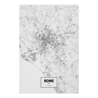 Roma, Italia (negro en blanco) Póster