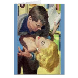 romance caliente de la oficina de los años 50 tarjeta de felicitación