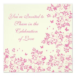 Romance de la mariposa/rosa de ruborización invitación 13,3 cm x 13,3cm