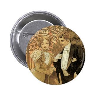 Romance del amor de Nouveau del arte del vintage, Chapa Redonda 5 Cm