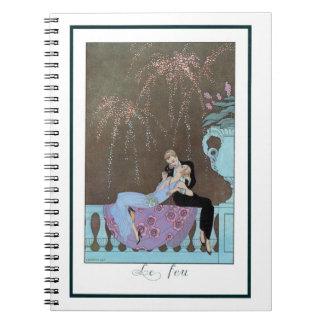 Romance del amor del vintage, beso romántico de cuadernos