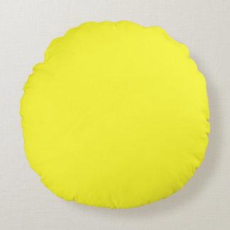 Romance tropical amarillo de neón ácido del limón cojín redondo