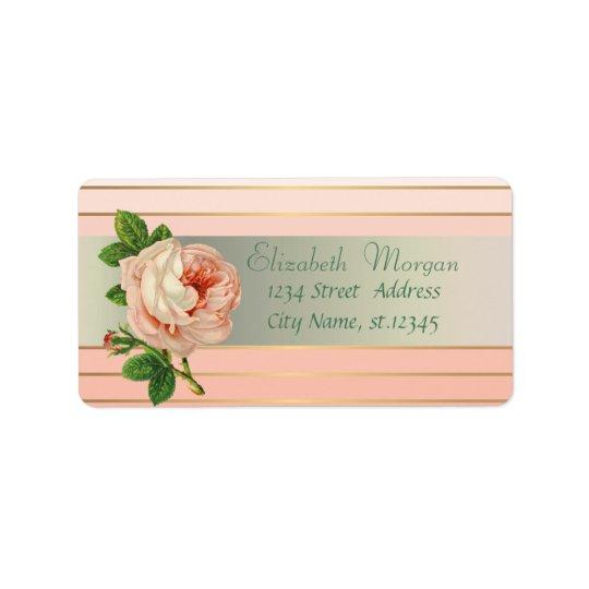 Romántico elegante atractivo elegante, rayas, etiquetas de dirección