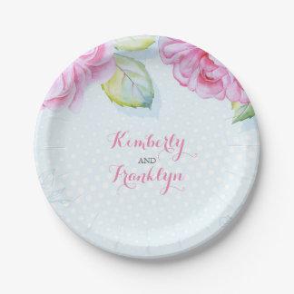 romántico elegante de las flores rosadas de la plato de papel