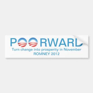 Romney 2012 - Poorward si reeligen a Obama Pegatina Para Coche