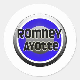 Romney Ayotte 2012 Pegatina Redonda