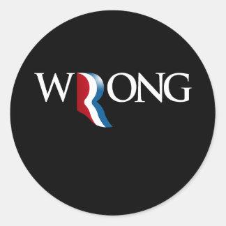 Romney es (2).png incorrecto pegatina redonda
