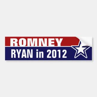 Romney Ryan en 2012 Pegatina De Parachoque