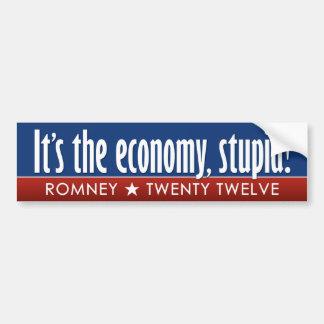 Romney - su la economía estúpida pegatina de parachoque