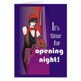 Rompa una pierna el la noche de la inauguración, tarjeta