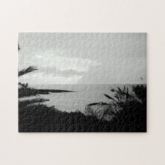 Rompecabezas blanco y negro de la fotografía de la