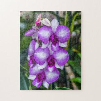 Rompecabezas blanco y púrpura de la foto de las