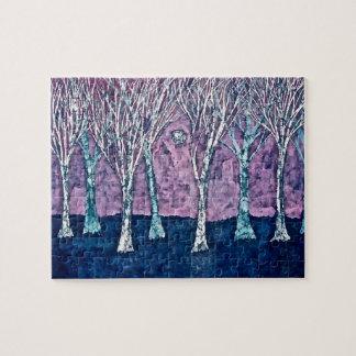 Rompecabezas con los árboles en invierno