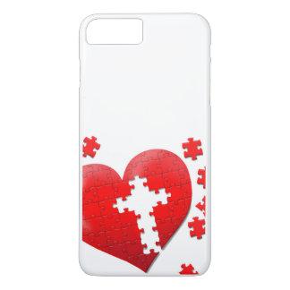 Rompecabezas cristiano del corazón del amor funda iPhone 7 plus