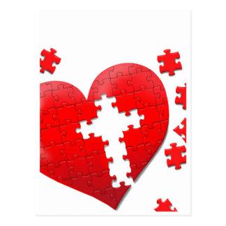 Rompecabezas cristiano del corazón del amor postal