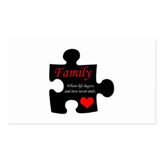 Rompecabezas de la familia plantillas de tarjetas de visita