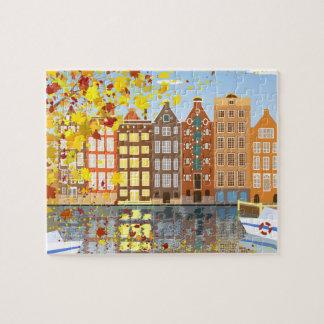 Rompecabezas del otoño de la ciudad de Amsterdam