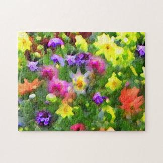 Rompecabezas floral verde abstracto del jardín de