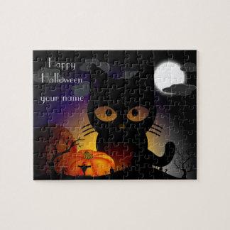 Rompecabezas personalizado del gato negro de