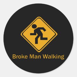 Rompió caminar del hombre pegatina redonda