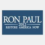 RON PAUL 2012 RECTANGULAR PEGATINA