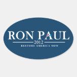 Ron Paul 2012 - Restablecimiento América ahora Pegatina De Óval Personalizadas