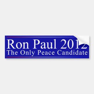 Ron Paul: El candidato de la paz Pegatina Para Coche
