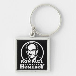 Ron Paul es mi Homeboy Llavero Cuadrado Plateado