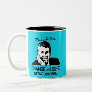 Ronald Reagan - cambio y esperanza Taza Bicolor