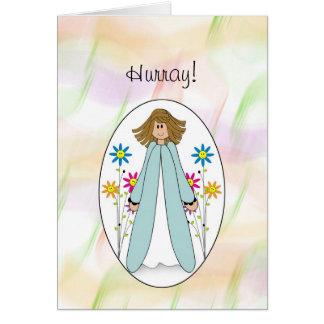 Ronda del último del chica de la enhorabuena de tarjeta de felicitación