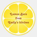 Ronda superior del limón de fiesta del favor de la etiqueta redonda