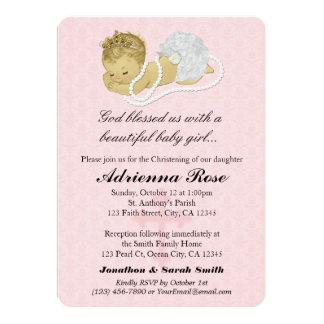 ROSA 147 de las invitaciones del bautizo del Invitación 12,7 X 17,8 Cm