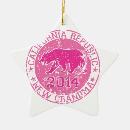 rosa 2014 de la abuela de la república de Californ Ornamentos De Navidad