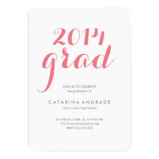 Rosa 2014 del graduado de la fiesta de graduación invitación 12,7 x 17,8 cm