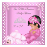 Rosa afroamericano del chica de la princesa fiesta invitaciones personalizada