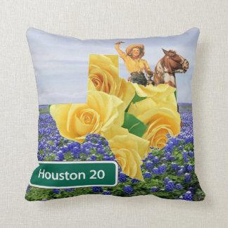 Rosa amarillo de Tejas y vaquera Houston de los Cojín Decorativo