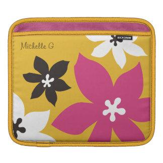 Rosa amarillo personalizado estampado de flores mo fundas para iPads