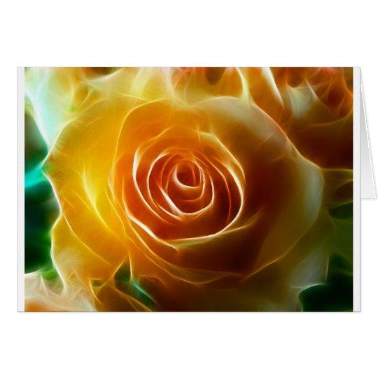 Rosa amarillo que brilla intensamente hermoso tarjeta de felicitación