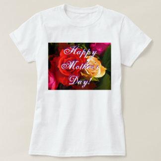 Rosa amarillo rojo feliz del día de madre camiseta