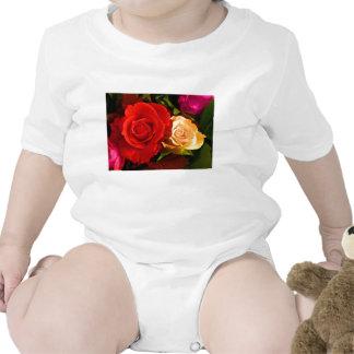 Rosa amarillo rojo traje de bebé