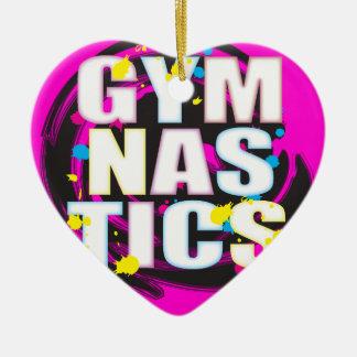 Rosa artístico de la pintura de la gimnasia adorno de cerámica en forma de corazón