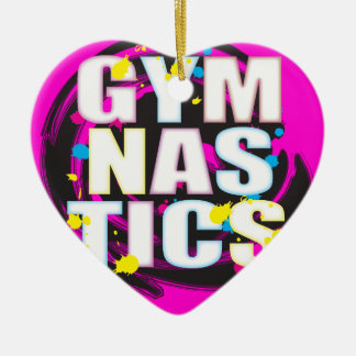 Rosa artístico de la pintura de la gimnasia adorno navideño de cerámica en forma de corazón