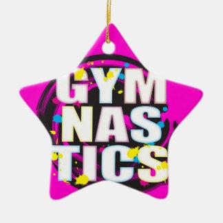Rosa artístico de la pintura de la gimnasia adorno navideño de cerámica en forma de estrella