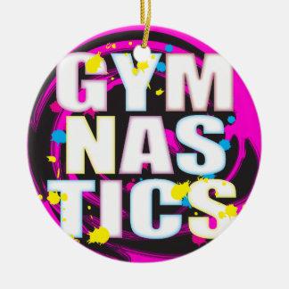 Rosa artístico de la pintura de la gimnasia adorno navideño redondo de cerámica