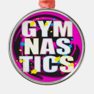 Rosa artístico de la pintura de la gimnasia adorno navideño redondo de metal