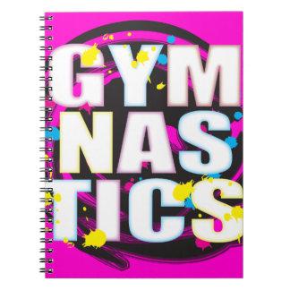 Rosa artístico de la pintura de la gimnasia libros de apuntes con espiral