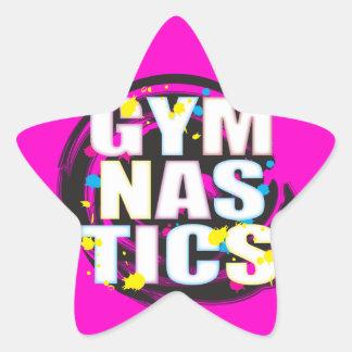 Rosa artístico de la pintura de la gimnasia pegatina en forma de estrella