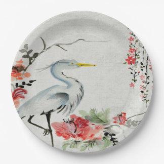Rosa asiático   de la flor de la grúa de la placa plato de papel