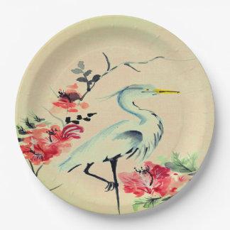 Rosa asiático   de la marfil de la flor de la grúa plato de papel