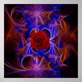 Rosa azul y rojo del fractal posters